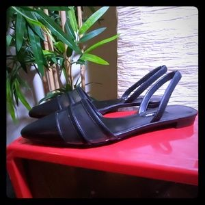 Black Flat Slingbacks